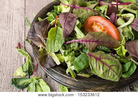 Fresh green salad mix. Fresh salad herbs such as chard, lettuce, beet leaves in a wooden bowl on the table.