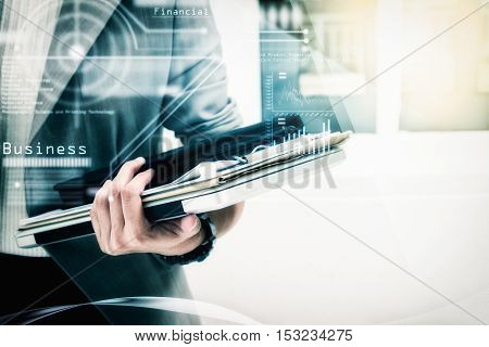 Modern Business Woman In The Office With Copy Space,prepare Documents And Graph Business Diagram And