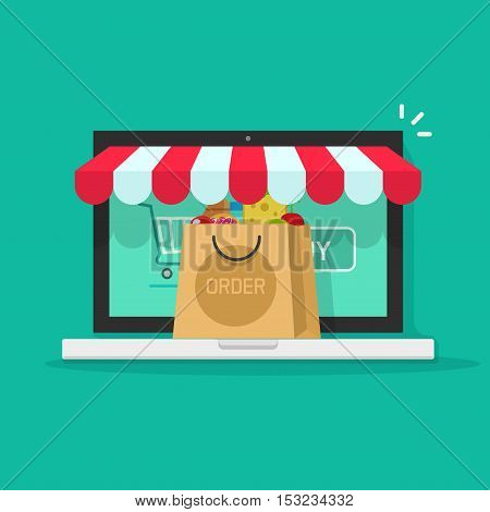 Online order from ecommerce store vector illustration, concept of on-line purchasing in internet shop, on-line shopping from laptop computer