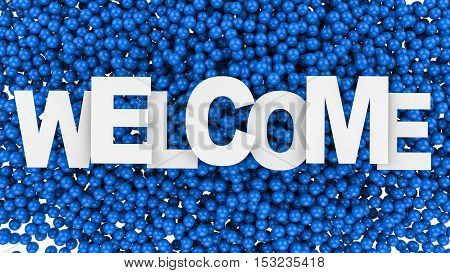 Welcome sign over colorful background. 3d illustration.