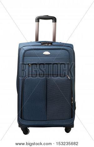 suitcase on wheels isolated on white background