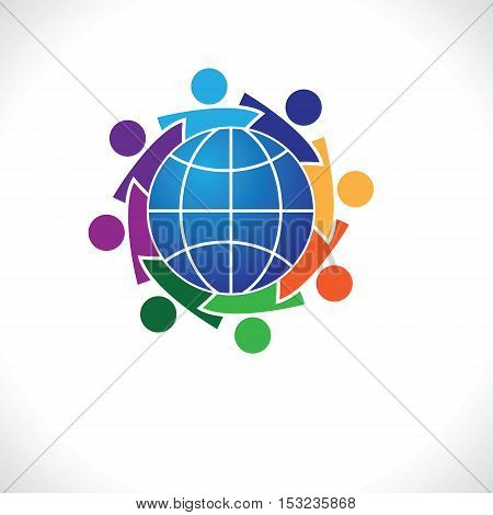 Community of people joined around the globe 8people icon. people friends logo concept vector icon. this icon also represents friendship, partnership cooperation unity,