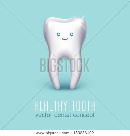 Vector dental medical poster with 3d human tooth. Dental health concept. Stomatology icon banner illustration