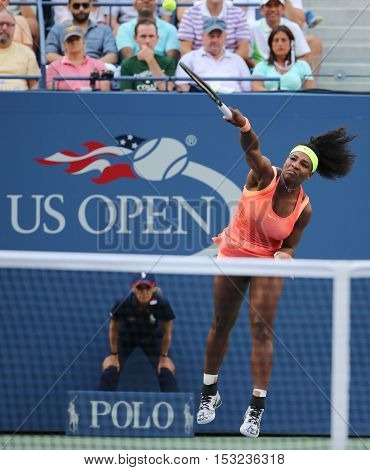 NEW YORK - SEPTEMBER 6, 2015: Twenty one times Grand Slam champion Serena Williams in action during her round four match at US Open 2015 at National Tennis Center in New York