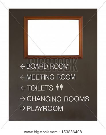instant board and blank wood picture frame in the hotel or hall for direct the way or advertise isolated