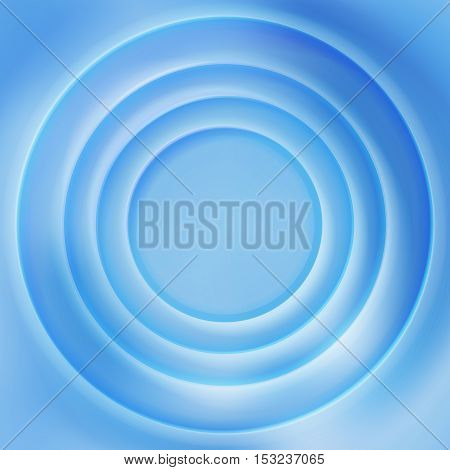 Blue water rippled surface vector background. Surface vibrant concentric illustration