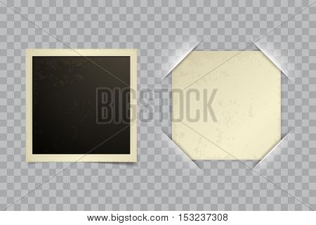 Old retro vector photo frame blank template with vector paper in photo frame corner on transparent background. Retro photo album with cut frame corners