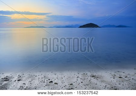 twilight or sunset sky on koh mak beach (mak island) with mountain at Trad Province in Thailand