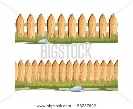 Wooden fences with grass and stones. Seamless vector cartoon background, Fence for country house illustration