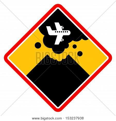 Sign with a volcano smoke and the plane, vector illustration