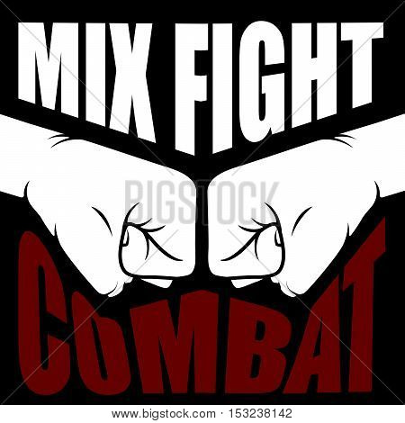 Mix fight combat emblem - collision of two fists
