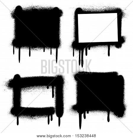 Spray paint graffiti grunge frames, banners. Messy silhouette monochrome black illustration