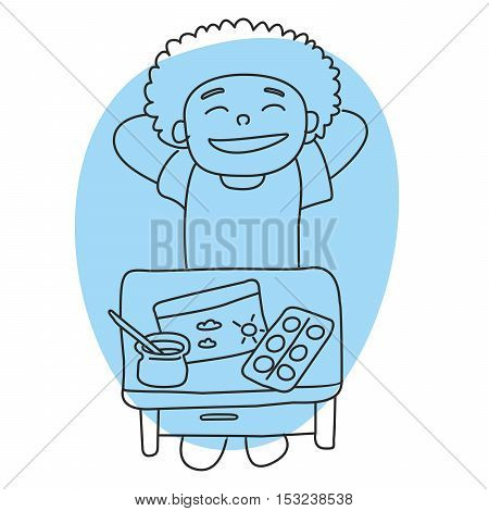 This is perfect linear design illustration of school topic in handdraw style. Little school boy with painting. Ready for school, ready for web, infographic or at you will.