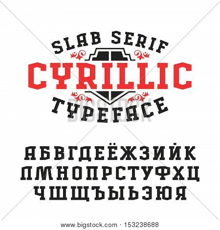Stock vector set of slab serif font in retro style. Cyrillic ABC
