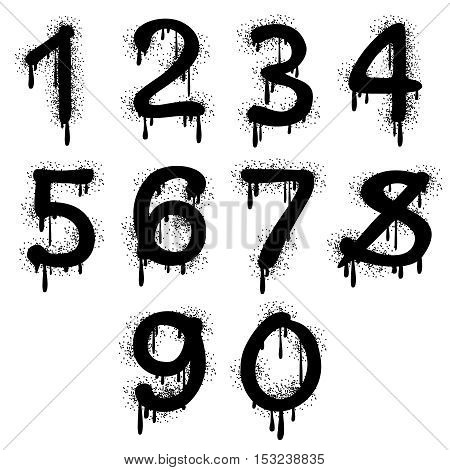 Grunge vector numbers with splatter text effect. Arithmetic figure for education illustration