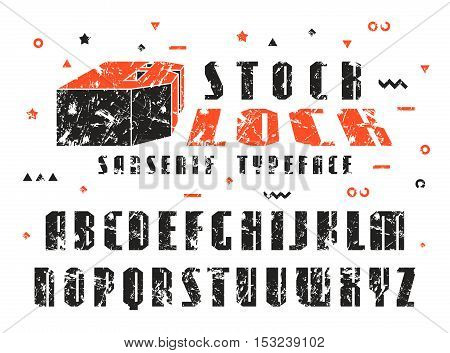 Stock vector set of sanserif font. Bold typeface with shabby texture