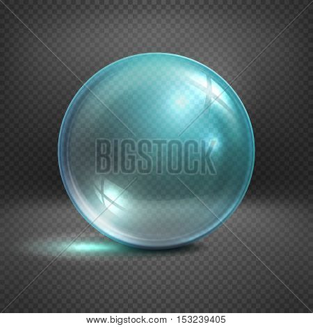 Transparent glass sphere isolated on checkered background vector illustration. Shiny ball clear for decoration
