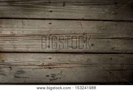 Old rustic wooden table, unpainted. Blank background, copy space