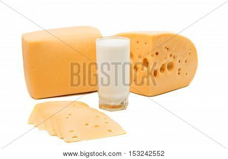 cheese and milk on a white background