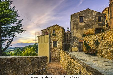 Casale Marittimo old stone village in Maremma on sunset. Picturesque street and traditional houses. Tuscany Italy Europe.