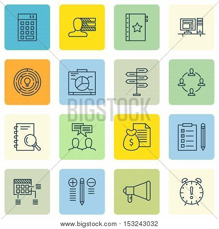 Set Of Project Management Icons On Announcement, Opportunity And Board Topics. Editable Vector Illus