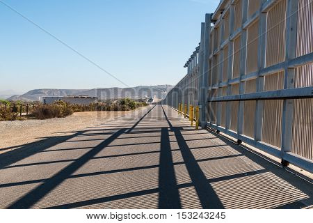 The US-Mexico border wall separating San Diego, California and Tijuana, Mexico