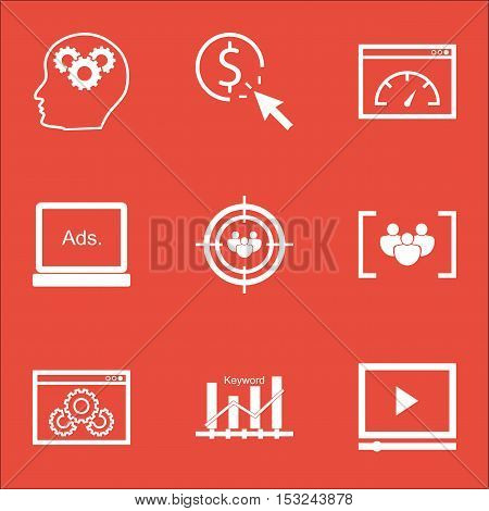 Set Of Seo Icons On Website Performance, Loading Speed And Brain Process Topics. Editable Vector Ill