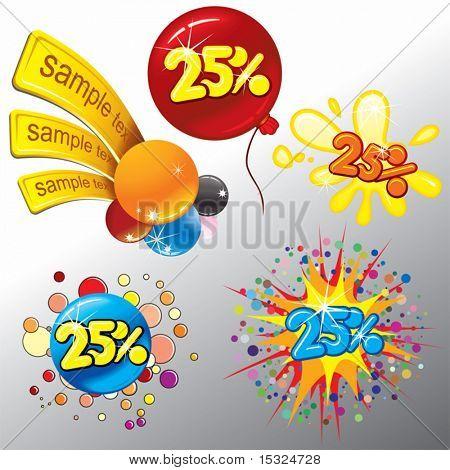 Festive Sale vector tags . Splash ,confetti,balloon, stickers,labels