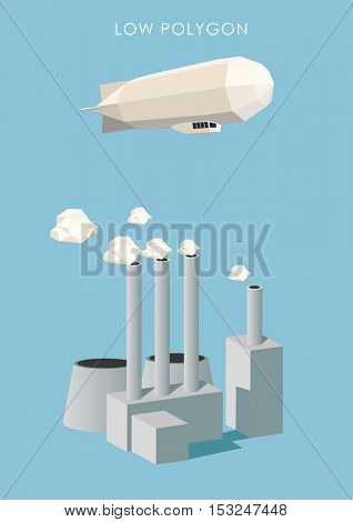 Zeppelin and polygonal factory. Low poly vector illustration.