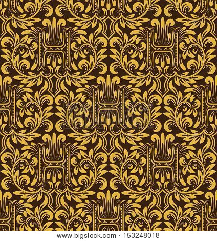 Damask seamless pattern repeating background. Gold brown floral ornament with H letter in baroque style. Antique golden repeatable wallpaper.