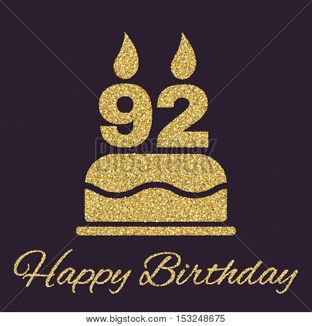 The birthday cake with candles in the form of number 92 icon. Birthday symbol. Gold sparkles and glitter Vector illustration