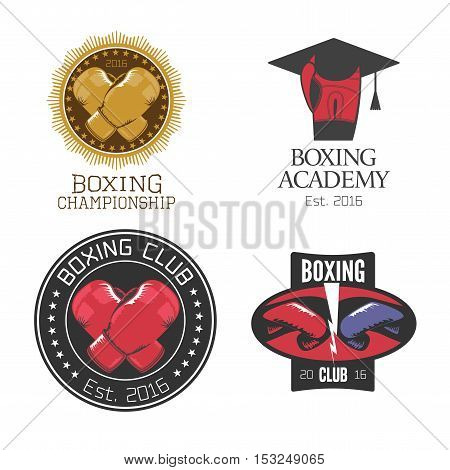 Boxing box club set of vector icons logo symbol emblem signs. Nonstandard design elements with boxing gloves for club school training