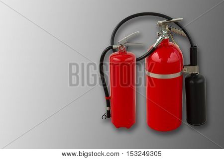 Fire extinguisher tools on isolated white background Fire proof system Fire protection tool Fire extinguisher equipment.