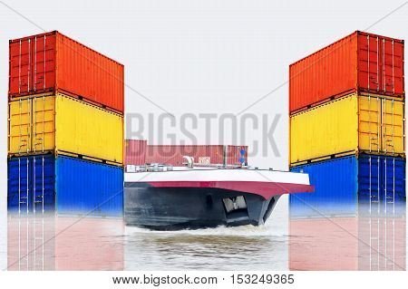 Container ship for the import and export of container box in the water. Right and Left picture stacked sea containers of different colors isolated on white background.