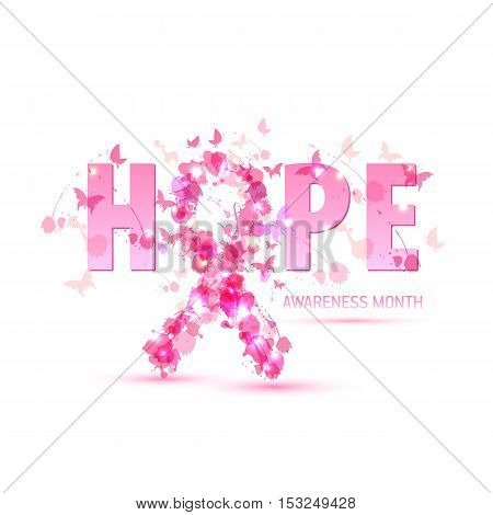Breast Cancer Awareness Concept Illustration: Pink Ribbon Symbol, Pink Watercolor Blots With Text Ho