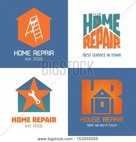 Set of home repair house remodel vector icon symbol sign logo emblem. Template graphic design elements for construction company builders home and house maintenance