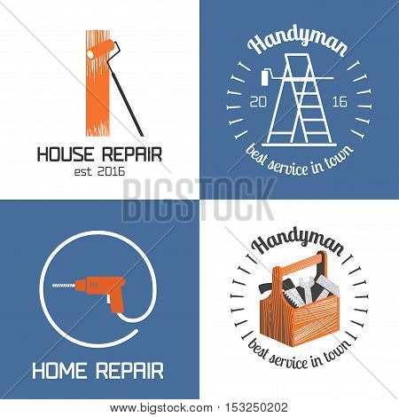 Set of home repair house remodel vector icon symbol sign logo emblem. Graphic design elements for construction company builders home and house maintenance with building tools