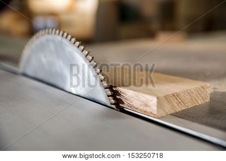 Circular wood saw in the carpentry workshop at workplace