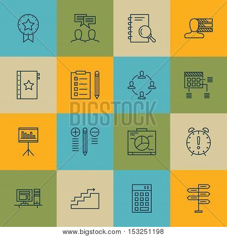 Set Of Project Management Icons On Decision Making, Present Badge And Schedule Topics. Editable Vect