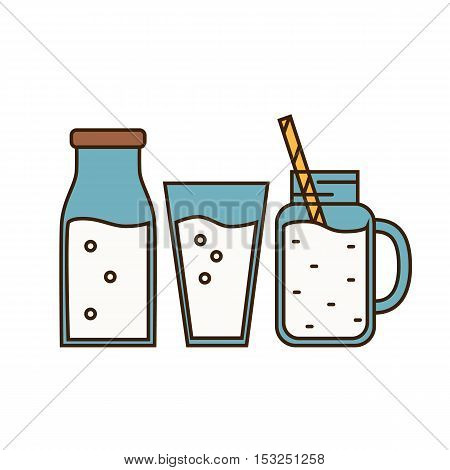 Dairy sign in line style design with glass, bottle and jug with milk, isolated vector illustration. Traditional and tasty products. Organic farming. Organic food and dairy product concept. Milk product icon. Cartoon dairy product. Dairy icon.