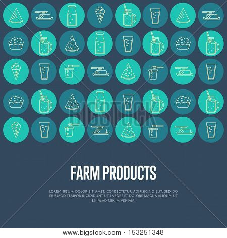 Farm products banner with different dairy round vector icons. Nutritious and healthy products. Organic farming. Natural and healthy food. Blue dairy background. Organic food and dairy product concept. Milk product icon. Cartoon dairy product. Dairy icon.
