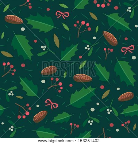 Christmas seamless pattern with holly, mistletoe and fir-cone.