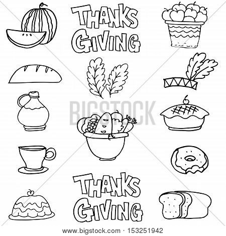 Hand draw thanksgiving stock on doodles vector art