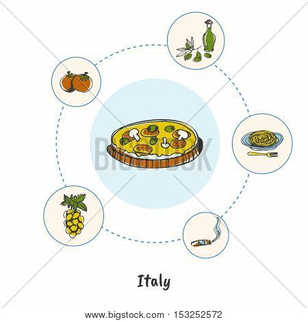 Attractive Italy. Pizza with mushrooms colored doodle surrounded cigar, pasta, grapes, tomatoes, bottle of olive oil hand drawn vector icons. Italian cultural and culinary symbols. Italy foods icons. Travel to Italy symbol concept. Discover Italy. Italy