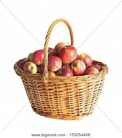 red apple basket isolated on white background