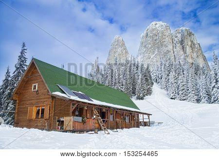 hut in mountain, Hasmas, Romanian Carpathians winter landscape