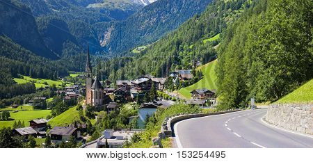 Heiligenblut church and road in Austria, Grossglockner pass