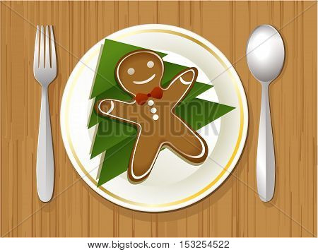 Christmas plate with gingerbread man - vector illustration