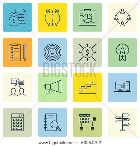 Set Of Project Management Icons On Growth, Investment And Reminder Topics. Editable Vector Illustrat