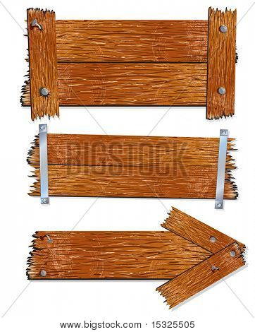 Viejas tablas de madera realistas y tablones, vector illustration